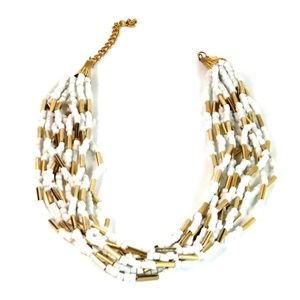 gold-tone pearl stretchable bracelet necklace set